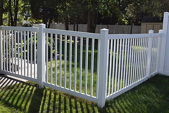 White Fence in Arlington Heights IL around a backyard