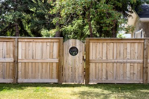 A Wood Fence in Joliet IL with a gate