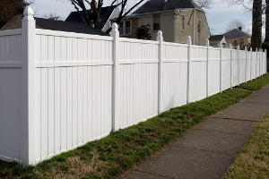 A white vinyl fence installed by a Fence Company in Minooka IL